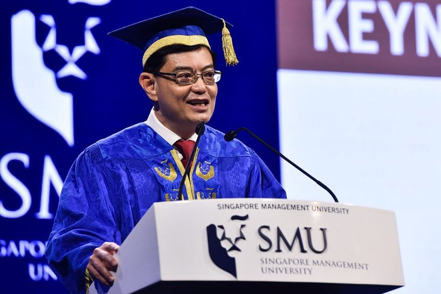Finance Minister Heng Swee Keat addresses graduates at the opening ceremony of Singapore Management University's Commencement 2018 on July 31, 2018.