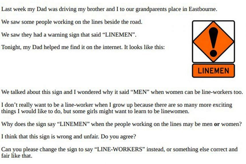 """Zoe Carew took issue with a """"linemen"""" hazard sign because """"women can be line workers"""" too, which she wrote in a letter to the head of the New Zealand Transport Agency."""