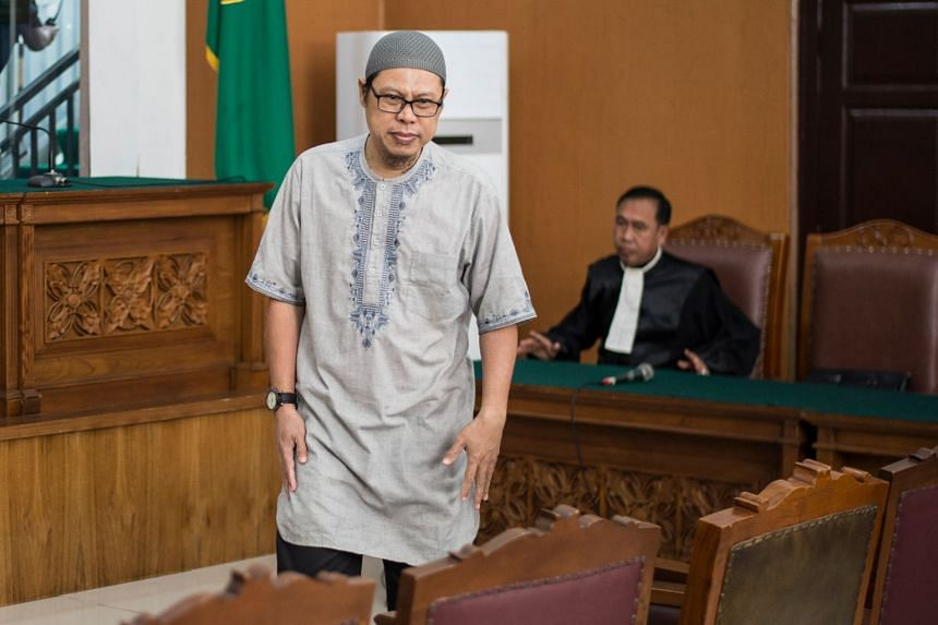 Former Jemaah Ansharut Daulah (JAD) leader Zainal Anshori during a court hearing, in which evidence have linked terror attacks across Indonesia to his militant group.