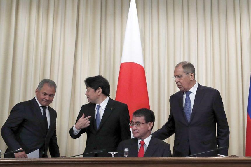 (From left) Russian Defence Minister Sergei Shoigu, Japanese Defence Minister Itsunori Onodera, Japanese Foreign Minister Taro Kono and Russian Foreign Minister Sergei Lavrov during a news conference.