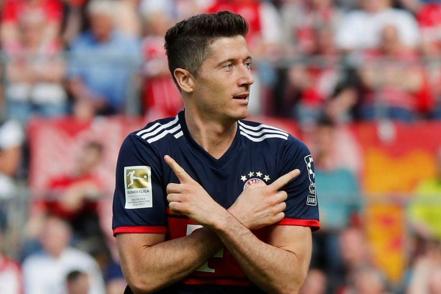 Bayern Munich's Robert Lewandowski celebrates a goal.