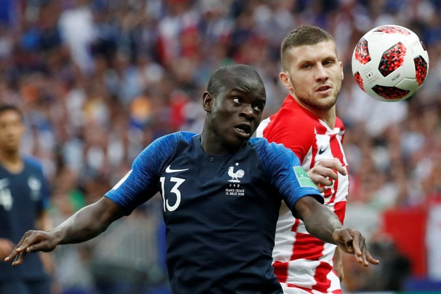 France's N'Golo Kante in action with Croatia's Ante Rebic during the 2018 World Cup final.