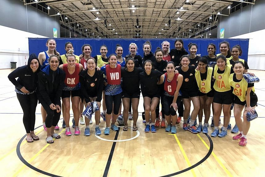 The Singapore netball squad, with players from ANZ Premiership side Northern Mystics, during their recent tour of New Zealand.
