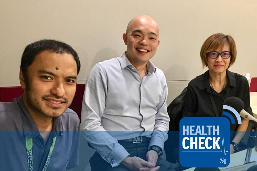Dr Ben Ng, an endocrinologist at Mount Elizabeth Novena Hospital (centre), debunks top myths about gestational diabetes with Health Check co-hosts Joyce Teo, a correspondent with The Straits Times (right), and head of podcasting Ernest Luis (left).
