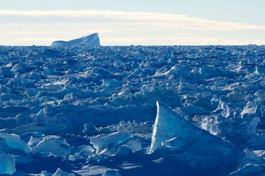 Rough compacted sea ice in the Antarctic on Sept 27, 2017.