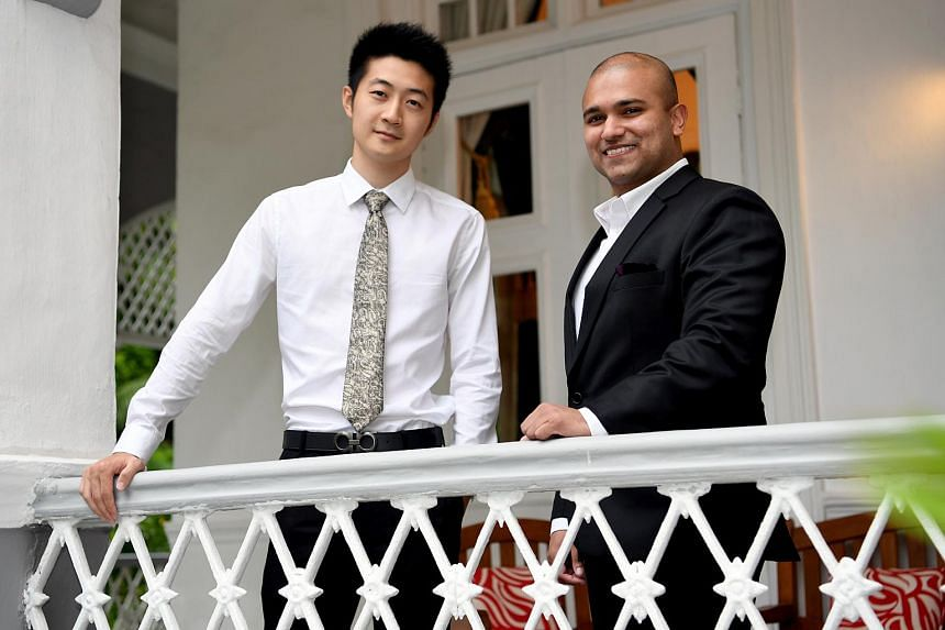 Dr Ma Jun (left), from the National University of Singapore, and Dr Dinesh Visva Gunasekeran of the Ministry of Health Holdings. They were awarded the Singapore Commonwealth Fellowship in Innovation by British High Commissioner to Singapore Scott Wig