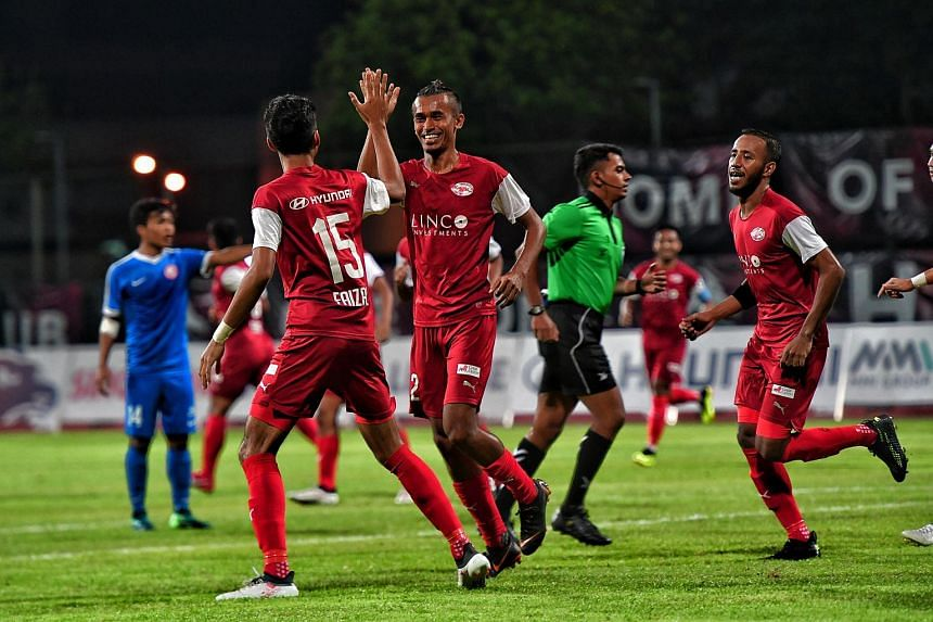 Home United players celebrating during their 4-1 win over the Young Lions in the Singapore Premier League, on June 6, 2018.