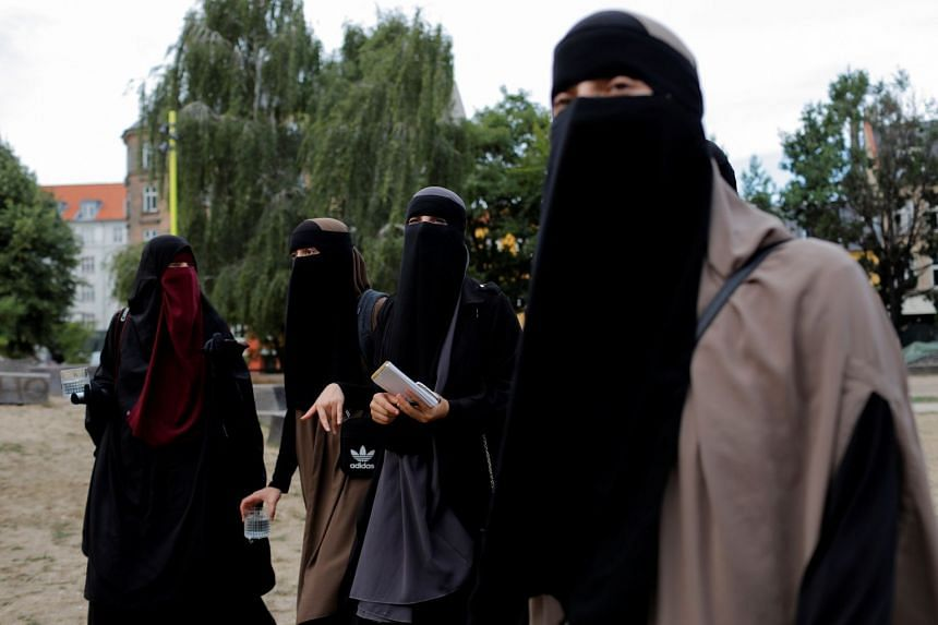 Women gathering the day before the Danish face veil ban, which will come into effect Aug 1, 2018, in Copenhagen, Denmark, on July 31, 2018.