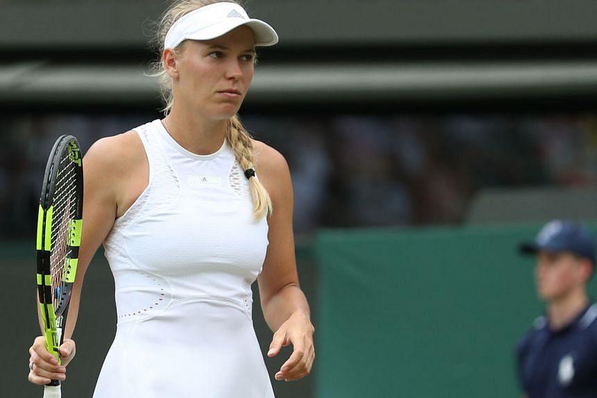 Wozniacki during the 2018 Wimbledon Championships in Wimbledon, south-west London.