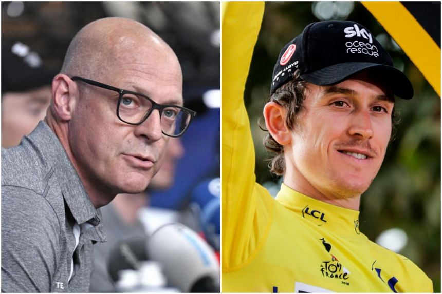 """Team Sky boss Dave Brailsford (left) believes that Tour de France champion Geraint Thomas is best-served by staying at Sky, after the cyclist said that he was """"open to hearing other options""""."""