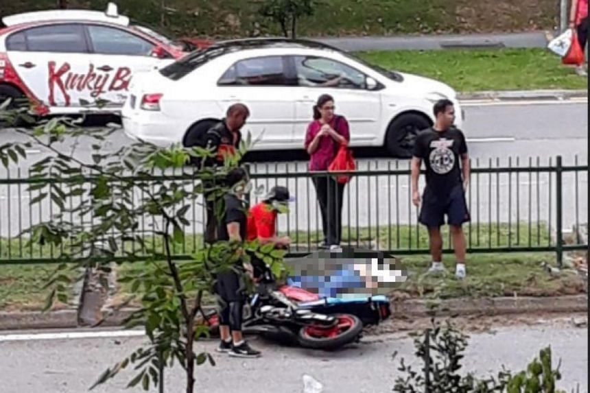 The motorcyclist was unconscious when taken to Changi General Hospital but later died from his injuries.