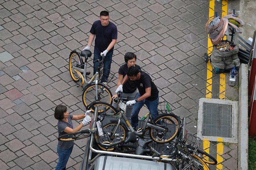 Bicycles from oBike being collected in Telok Blangah Drive. LTA had given oBike until Tuesday to remove its bicycles, an extension granted after the initial July 4 deadline expired. A heap of oBike bicycles at a scrapyard. Noting the progress made by