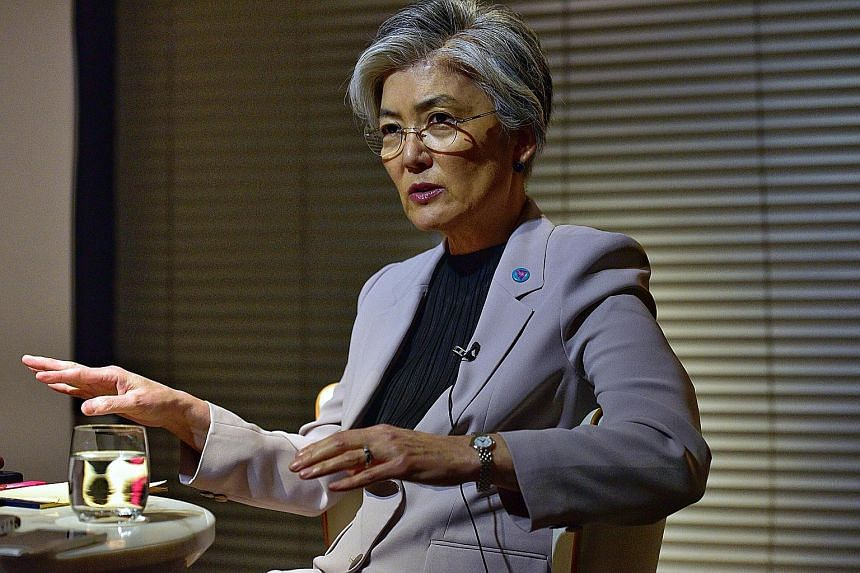 South Korean Foreign Minister Kang Kyung-wha will attend the Asean Regional Forum retreat here on Saturday. Her North Korean counterpart Ri Yong Ho will also be at the forum, the only multilateral regional forum that Pyongyang participates in.