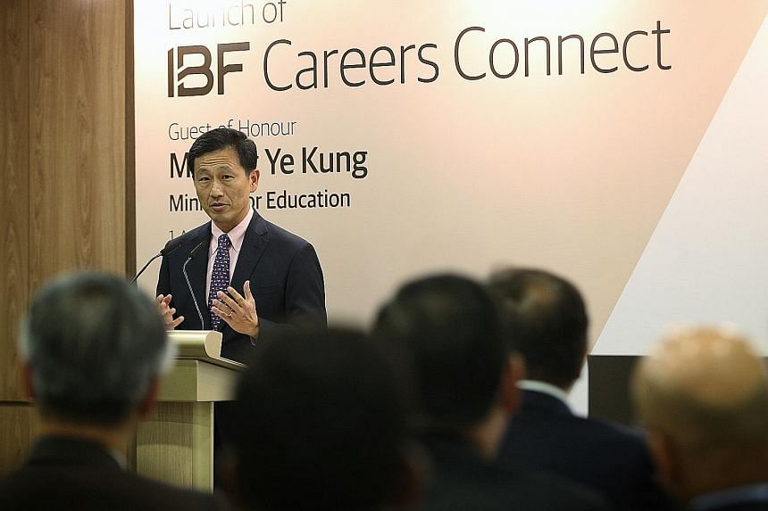 At the launch of IBF Careers Connect yesterday, Education Minister Ong Ye Kung said the centre will bring together efforts across the financial industry, unions and Government to provide a one-stop integrated approach to career advice, job matching a