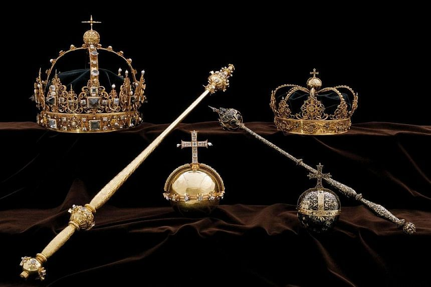 The gold burial crowns from 1611 belonging to King Karl IX and his wife, Queen Christina, were in a display cabinet in Strangnas Cathedral.