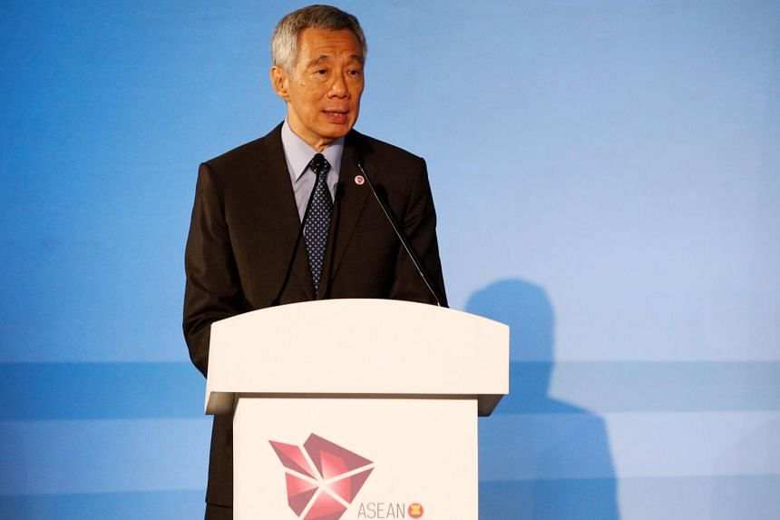 Prime Minister Lee Hsien Loong giving a speech to foreign ministers from all 10 Asean countries and diplomats at the opening ceremony of the Asean Foreign Ministers' Meeting at Singapore Expo, on Aug 2, 2018.