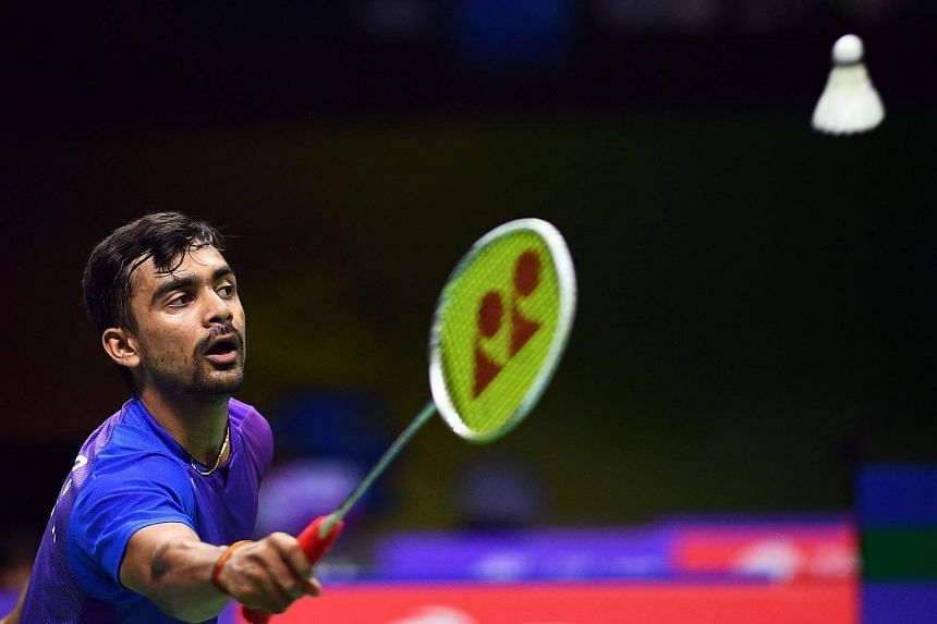 Sameer Verma of India hits a shot in his men's singles match during the badminton World Championships in Nanjing, Jiangsu province, on Aug 1, 2018.
