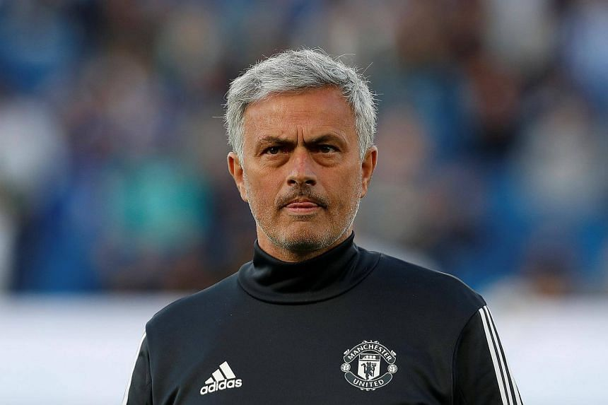Manchester United manager Jose Mourinho during the warm up before their match against Brighton & Hove Albion at the The American Express Community Stadium in Britain, on May 4, 2018.