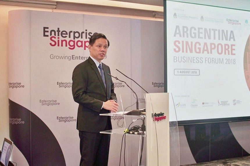 Minister for Trade and Industry Chan Chun Sing speaking at the Argentina-Singapore business forum, on Aug 1, 2018.