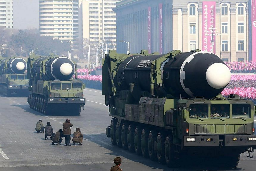 Ballistic missiles on display during a military parade at Kim Il Sung Square in Pyongyang, North Korea, on Feb 8, 2018.