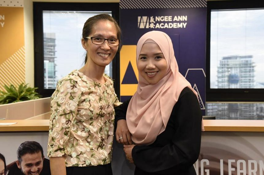 Madam Liaw Lay Kian (left), 56, and Ms Nurulhuda Abdul Majid, 29, are scholarship recipients of Ngee Ann Academy. which is offering the first King's College London part-time nursing degree outside of the UK.