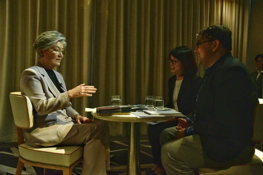 South Korea Foreign Minister Kang Kyung-wha at an interview with The Straits Times on Aug 1, 2018.