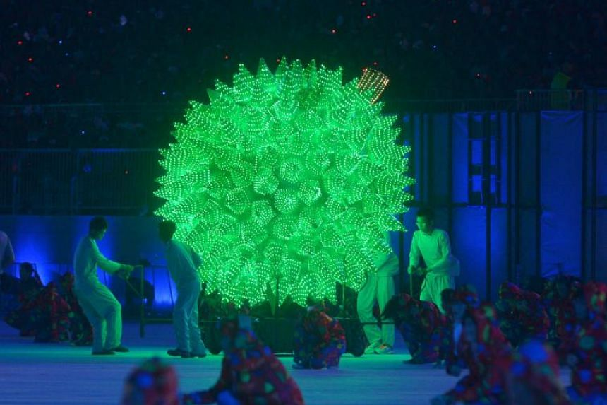 A spiky performance at the 2015 National Day Parade. While the Turkmen Melon Day is a national day rather than a public holiday in Turkmenistan, it triggers daydreams about if we could have a Singapore Durian public holiday.