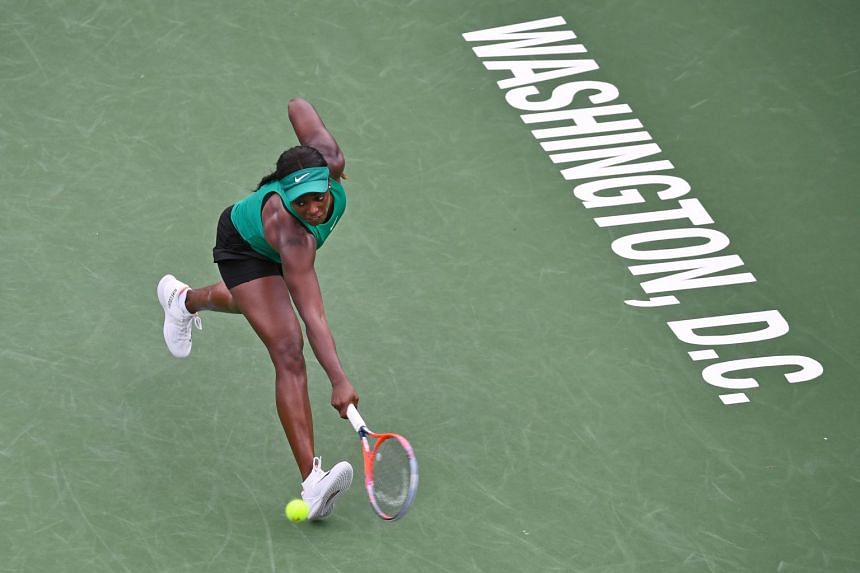 Stephens (above) beat compatriot Bethanie Mattek-Sands in her opening match.