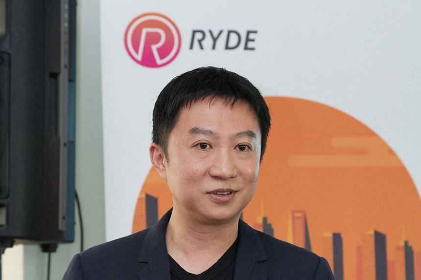Mr Terence Zou, CEO of carpooling platform Ryde, speaking to the media at the launch of its RydeX private-hire car service at the Intercontinental Hotel, on April 26, 2018.