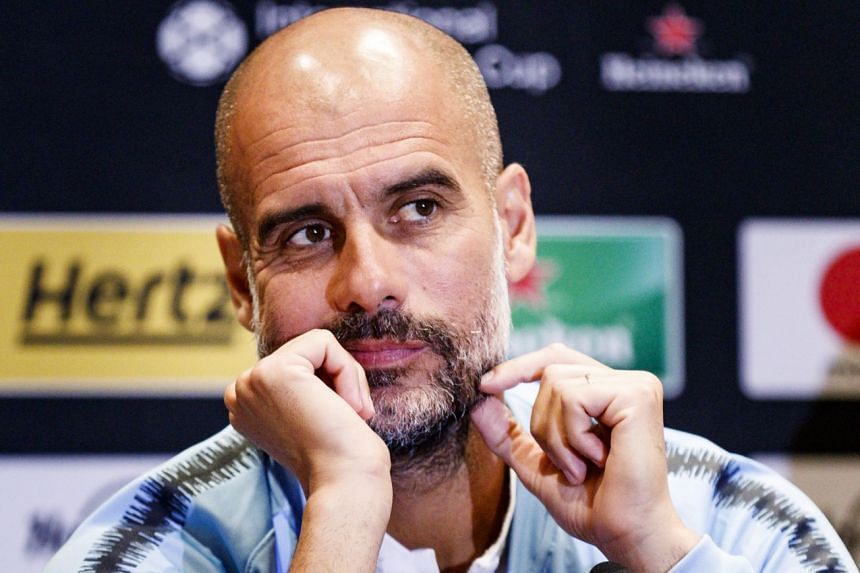 Guardiola talking to the media ahead of an Champions Cup match against Liverpool in New York.