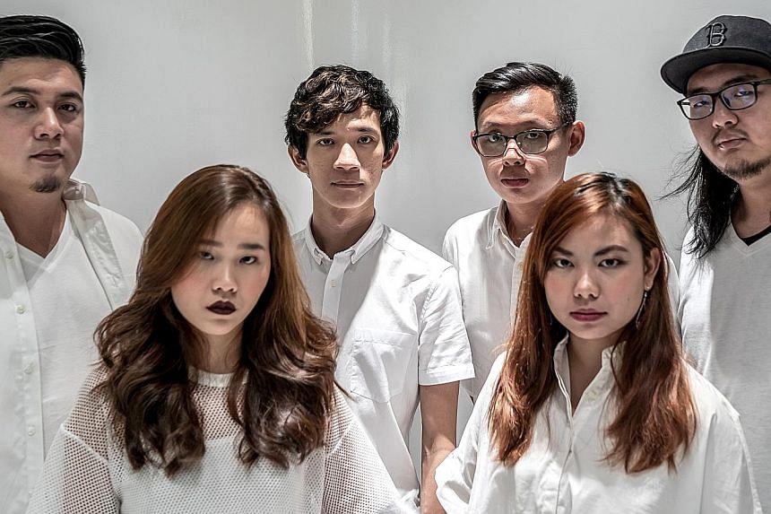 The sextet of (from left) guitarist Dale Isaac Low, singer Debbi Koh, drummer Wong Wei Lung, bassist Darren Tan and guitarists Tabitha Boon and Thomas Low