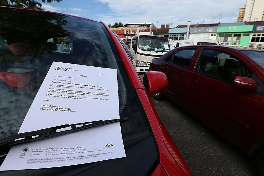 An HDB notice left on a car in the Holland Village open-air carpark yesterday. The notice informs motorists of the carpark's impending closure and where alternative parking is available.