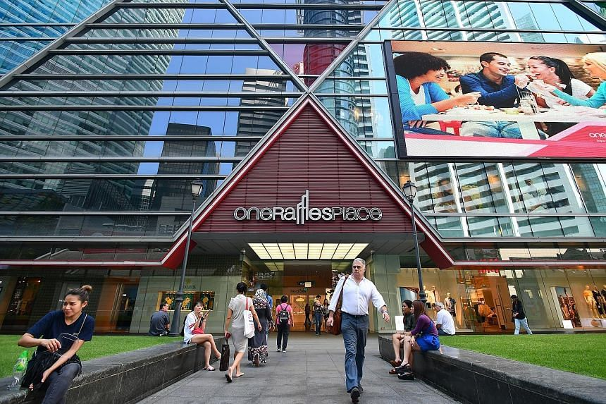 """OUE C-Reit said it faced lower retail revenue in the second quarter from One Raffles Place shopping mall as a result of """"transitional vacancy from the departure of an anchor tenant""""."""