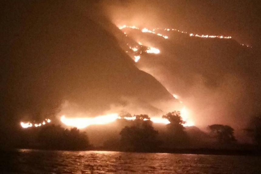 Officials said the island is uninhabited and no wildlife or tourists were hurt in the blaze.