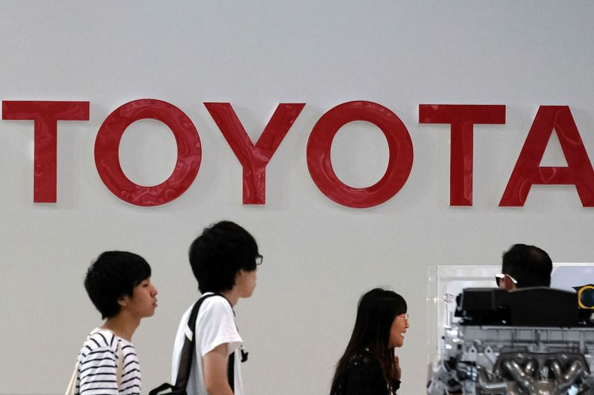 The logo of Japan's Toyota Motors is displayed at their showroom in Tokyo, on Aug 3, 2018.