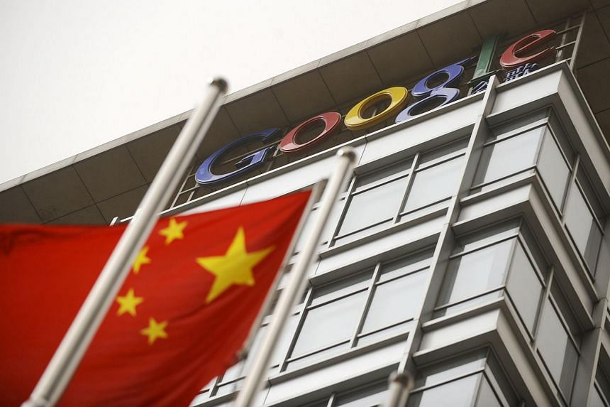 Chinese flag flying next to the former Google China headquarters in Beijing, on March 22, 2010.