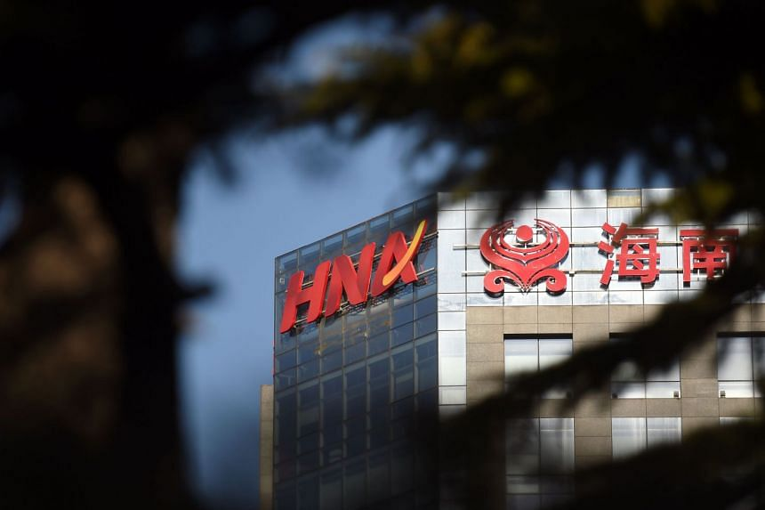File photo showing the HNA logo on a building in Beijing, on Feb 18, 2018.
