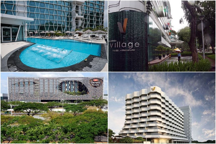 The Competition and Consumer Commission of Singapore identified the four hotels as (clockwise from top left) Capri by Fraser Changi City Singapore, Village Hotel Changi, Village Hotel Katong and Crowne Plaza Changi Airport Hotel.