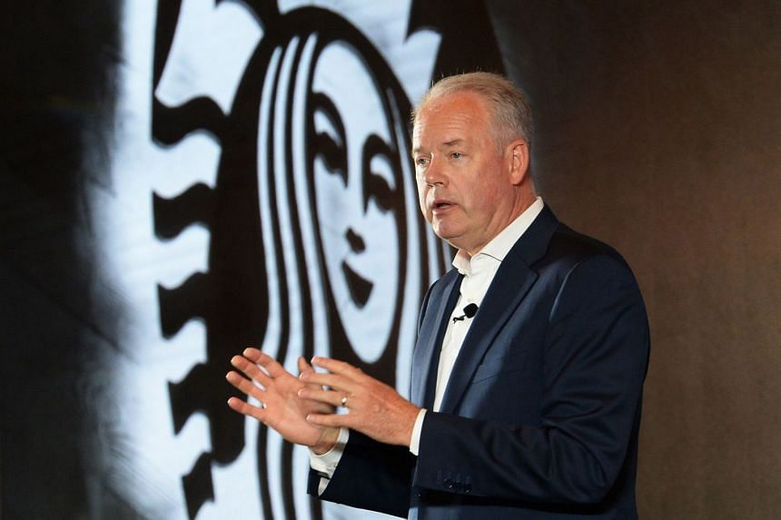 Starbucks' president and CEO Kevin Johnson during a press conference in China, where Starbucks coffees will be delivered to Chinese consumers with the help of e-commerce giant Alibaba.