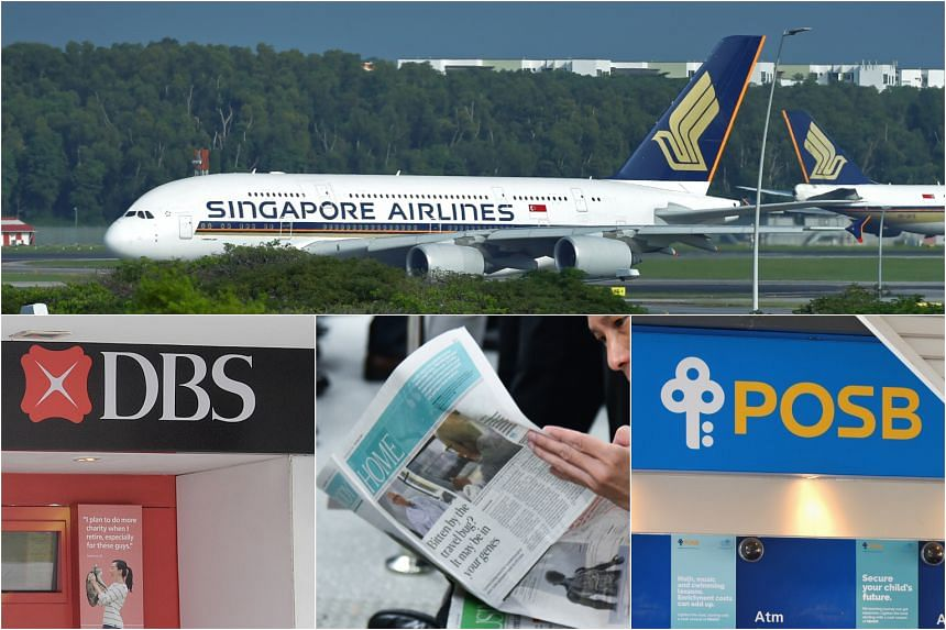 Singapore brands such as (clockwise from top) Singapore Airlines, POSB, The Straits Times and DBS Bank made it to the list of top 10 brands most positively perceived by Singaporean consumers.