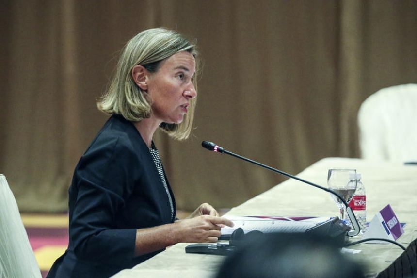 High Representative of the European Union for Foreign Affairs and Security Policy Federica Mogherini delivers her address during the meeting between the European Union and Asean foreign ministers at the 51st Asean Foreign Ministers' Meeting in Singap