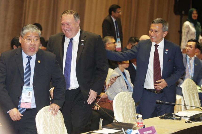 Foreign Minister Vivian Balakrishnan (right) with US Secretary of State Mike Pompeo (centre) at the Asean-US ministerial meeting in Singapore on Aug 3, 2018.