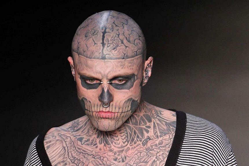 Zombie Boy, whose real name was Rick Genest, held world records for having the most bones and the most insects  tattooed on his body.
