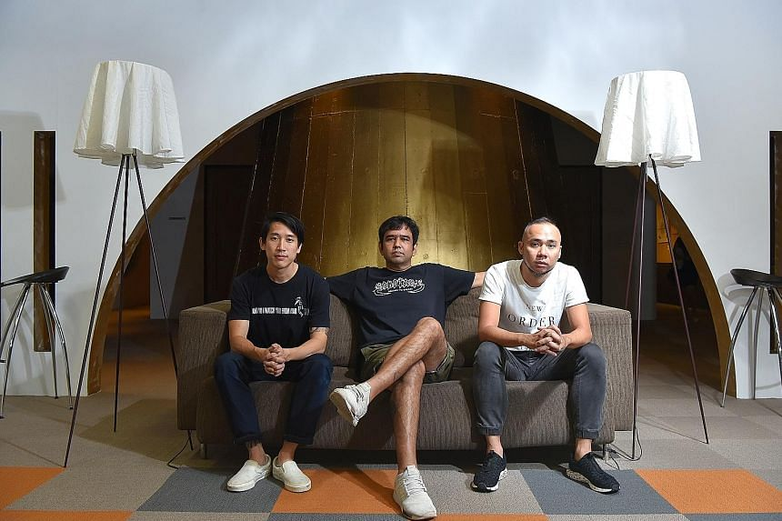 Sherene's Closet's lead singer Gerald Stahlmann (centre) on checking off an item on his bucket list. The band have been off the radar for the last 17 years and will make their Baybeats debut this year, with new members including Martin Kong (left) an