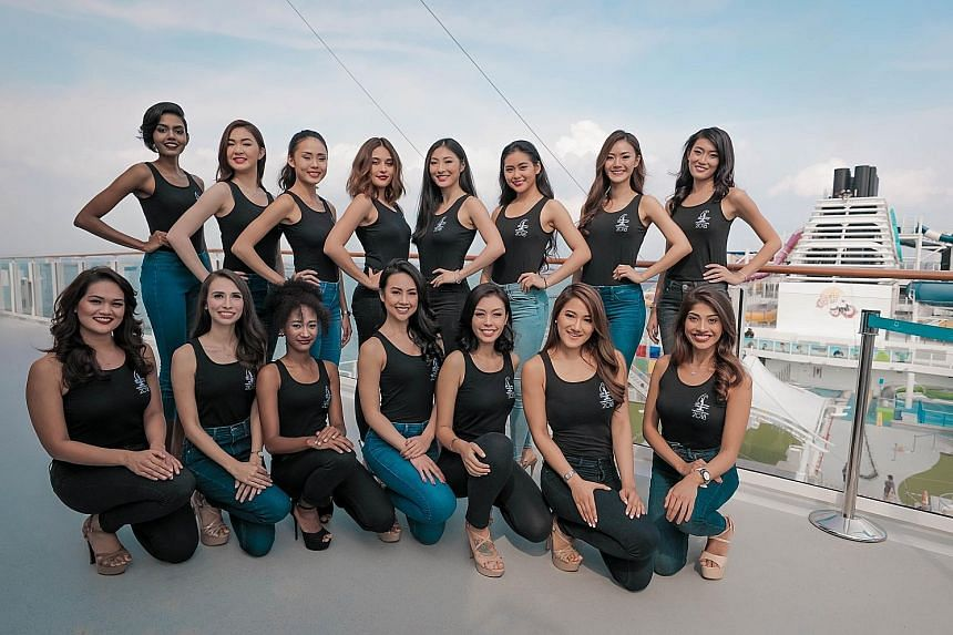 The 15 finalists of the Miss Universe Singapore 2018 pageant were unveiled yesterday on board the Genting Dream luxury cruise ship. They are contestants (top row, from left) Mohanaprabha, Loo May Tia, Tiong Jia En, Nicol Hunt, Soh Qiao Ying, Ischelle