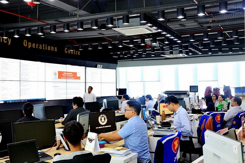 The disaster monitoring room of the AHA Centre in Jakarta. The centre's offices - staffed by 27 experts, including logistics specialists and disaster monitoring experts - are anything but relaxed. Work to set up the centre began in earnest after the