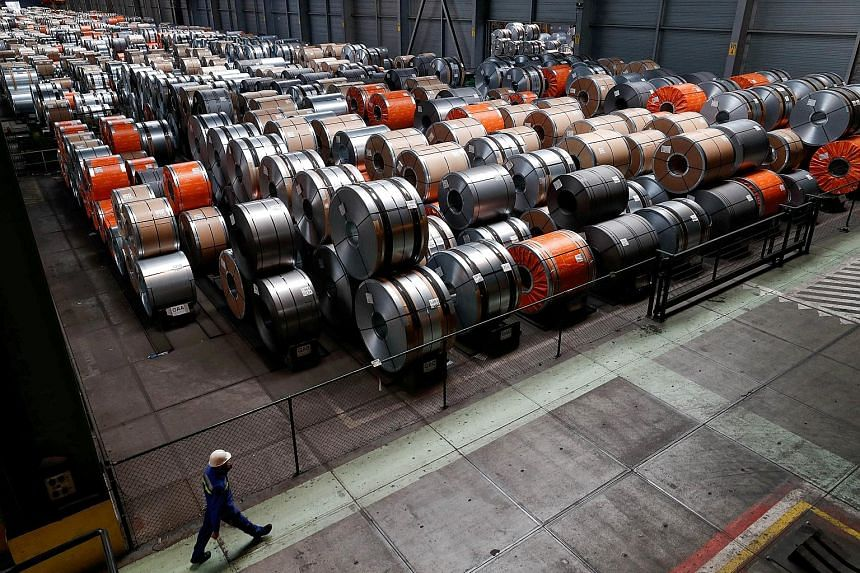 "Metal coils seen at a Belgium steel plant. So far, the direct effects of US President Donald Trump's steel and aluminium tariffs are limited, says Mr Johannes Bahrke, a spokesman for the European Commission. But Mr Bahrke says that ""trade protectioni"