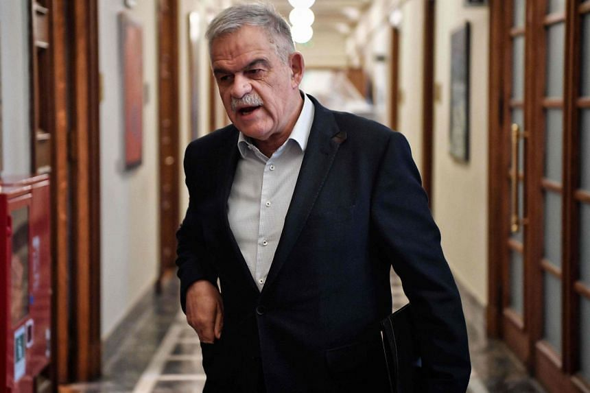 Toskas arriving for a Cabinet meeting at the Greek parliament in Athens in April 2018.