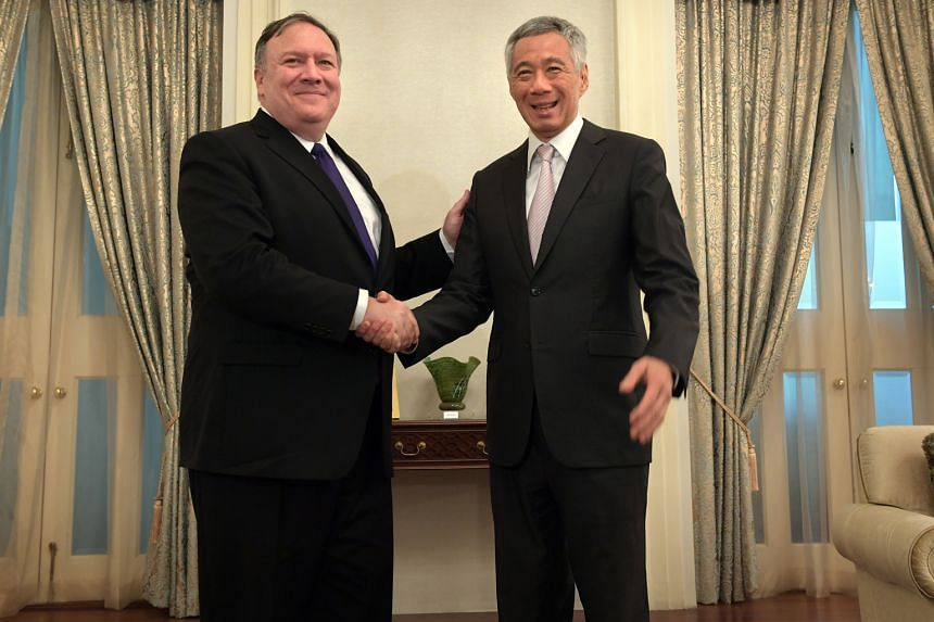 US Secretary of State Mike Pompeo calling on PM Lee yesterday. Mr Pompeo is making his introductory visit in conjunction with Asean-led meetings.