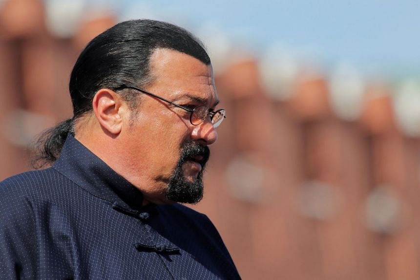 Seagal watching Russia's Victory Day parade, marking World War II victory over Nazi Germany, in Moscow,